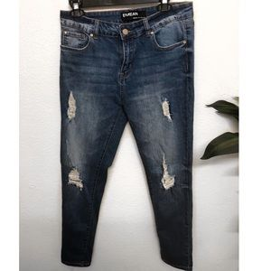 HIGH WAISTED RIPPED JEANS -size13
